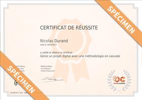 Exemple de certificat OpenClassrooms