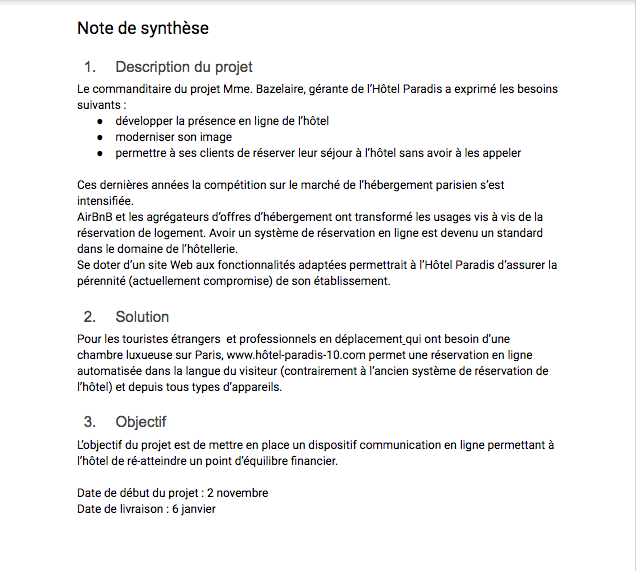 comment faire une synthese de document