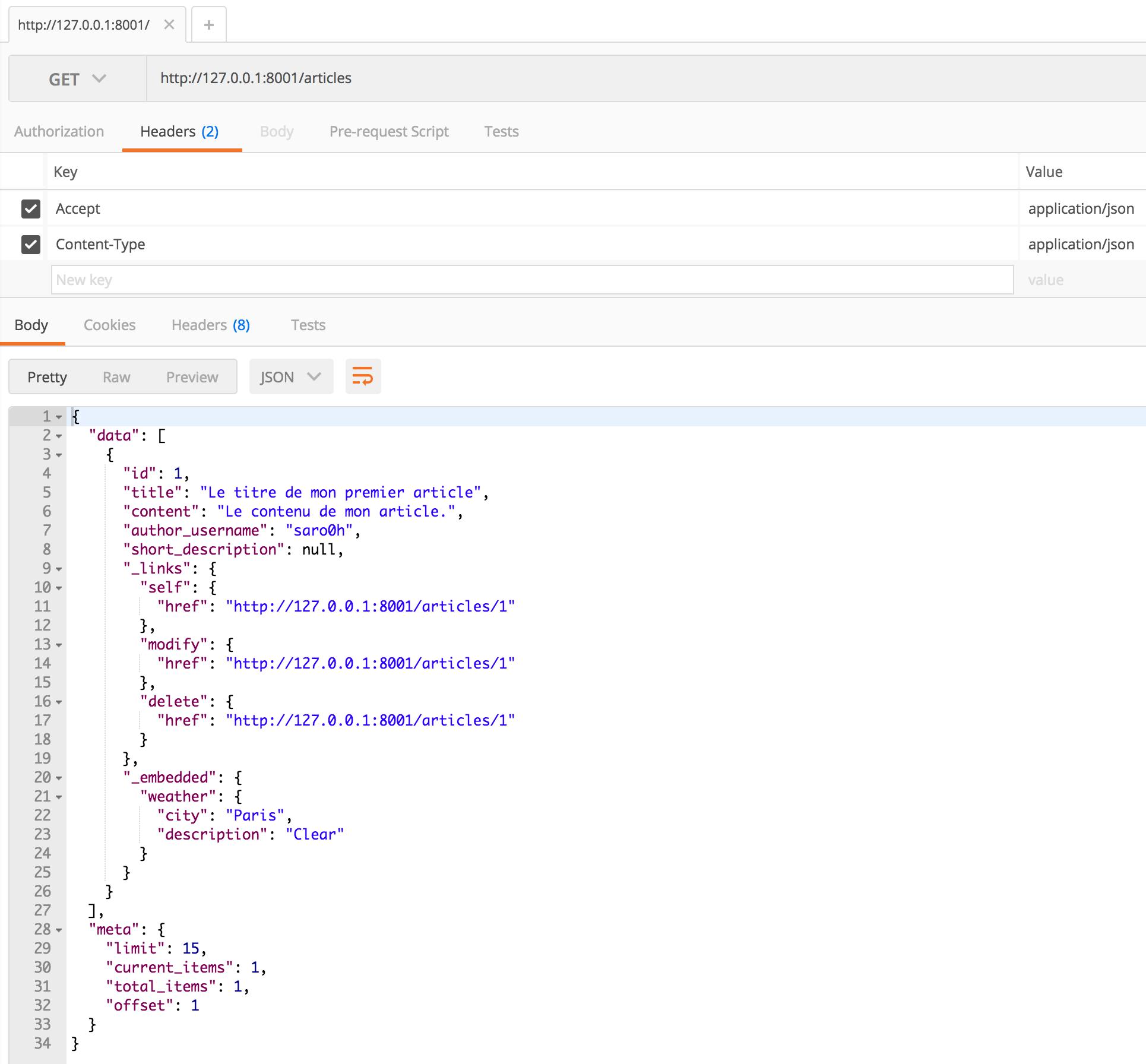 Liste d'articles accessible depuis l'API