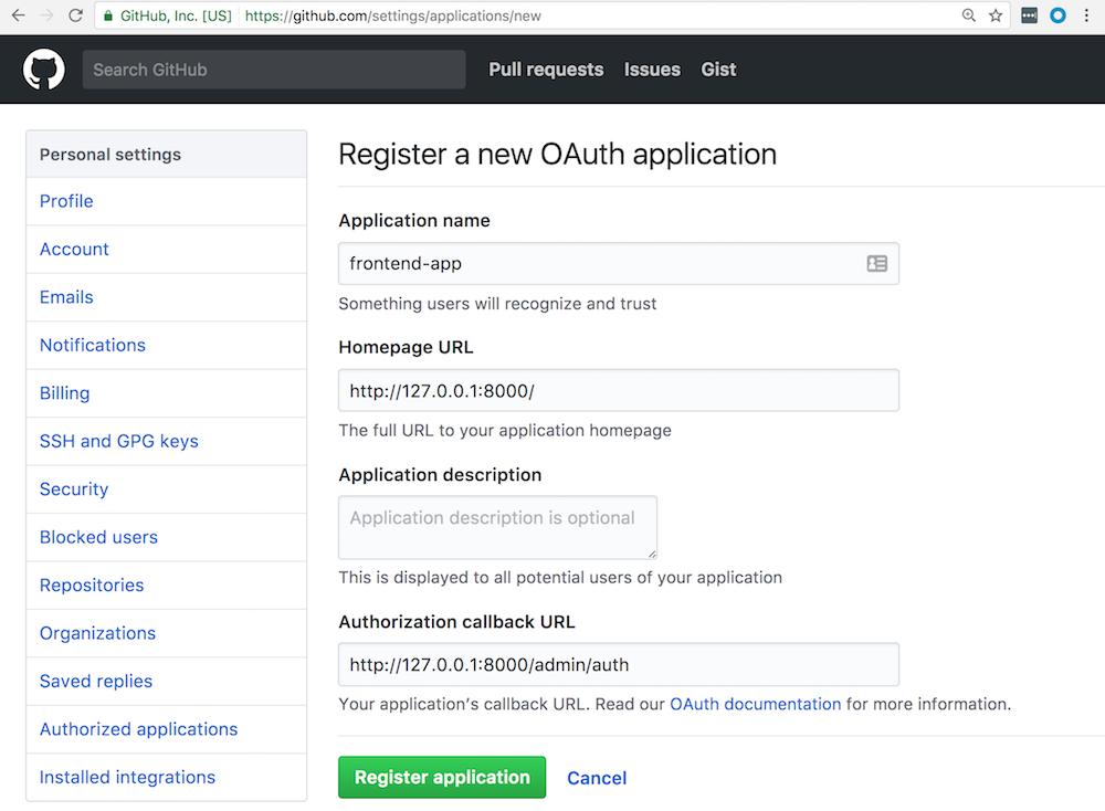 Création de l'application OAuth pour permettre à l'application frontend app de communiquer avec Github