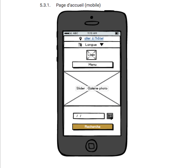 Maquette fil de fer d'une page d'accueil mobile