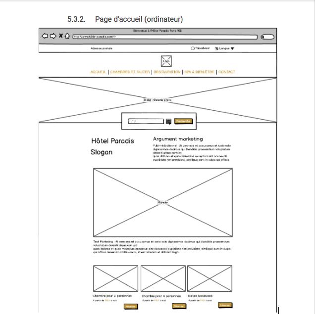 Maquette fil de fer d'une page d'accueil (ordinateur)