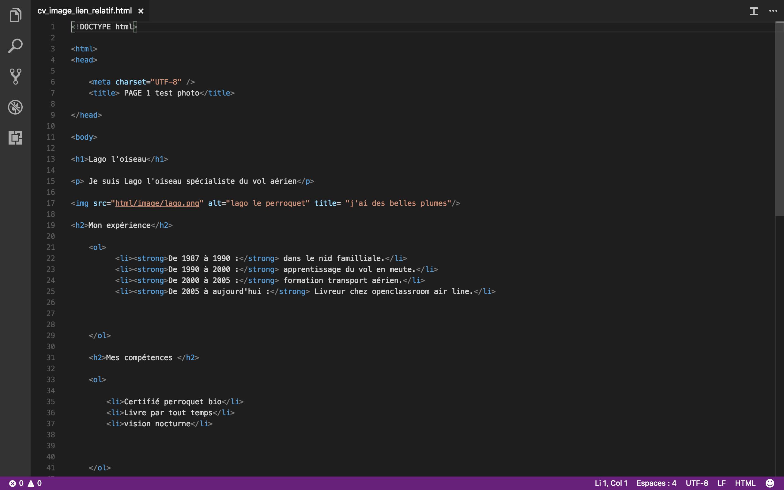 exercice cv html
