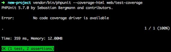 Erreur lors de la génération du code coverage si xdebug n'est pas installé