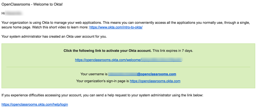 An Okta welcome email is waiting for you