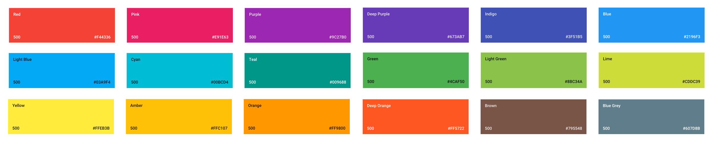 Tons 500 - Palette des couleurs - Material Design - Google Guide