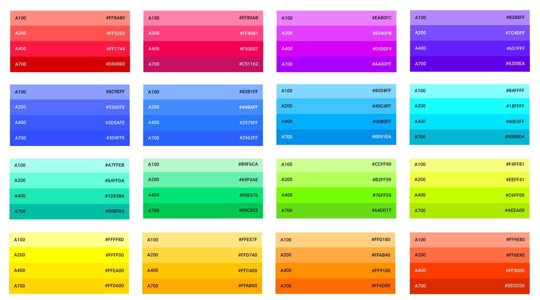 Tons A--- - Palette des couleurs - Material Design - Google Guidelines