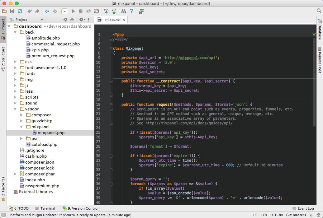 L'éditeur PHPStorm, utilisé par de nombreux professionnels