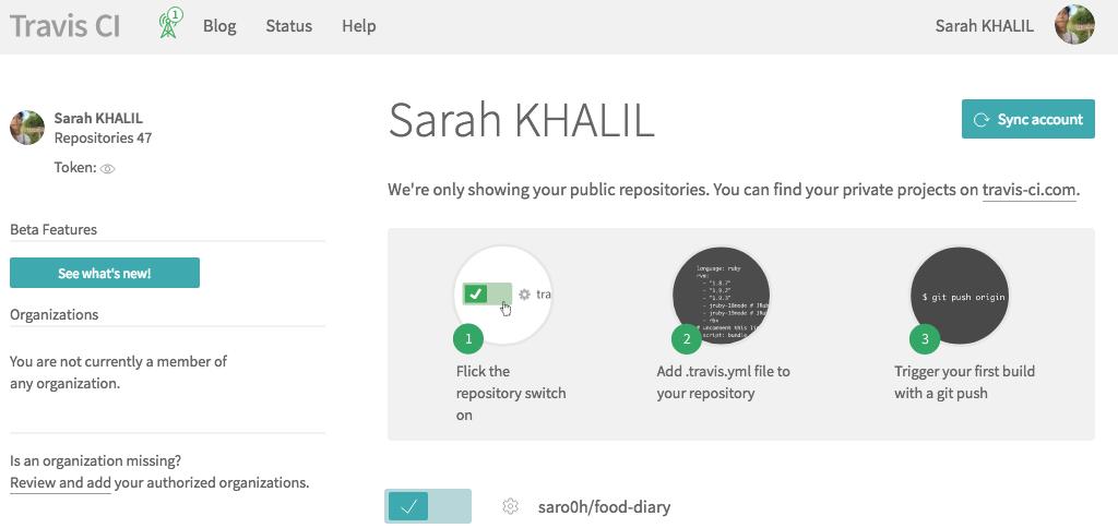 Repository Github désormais activé pour intégration continue