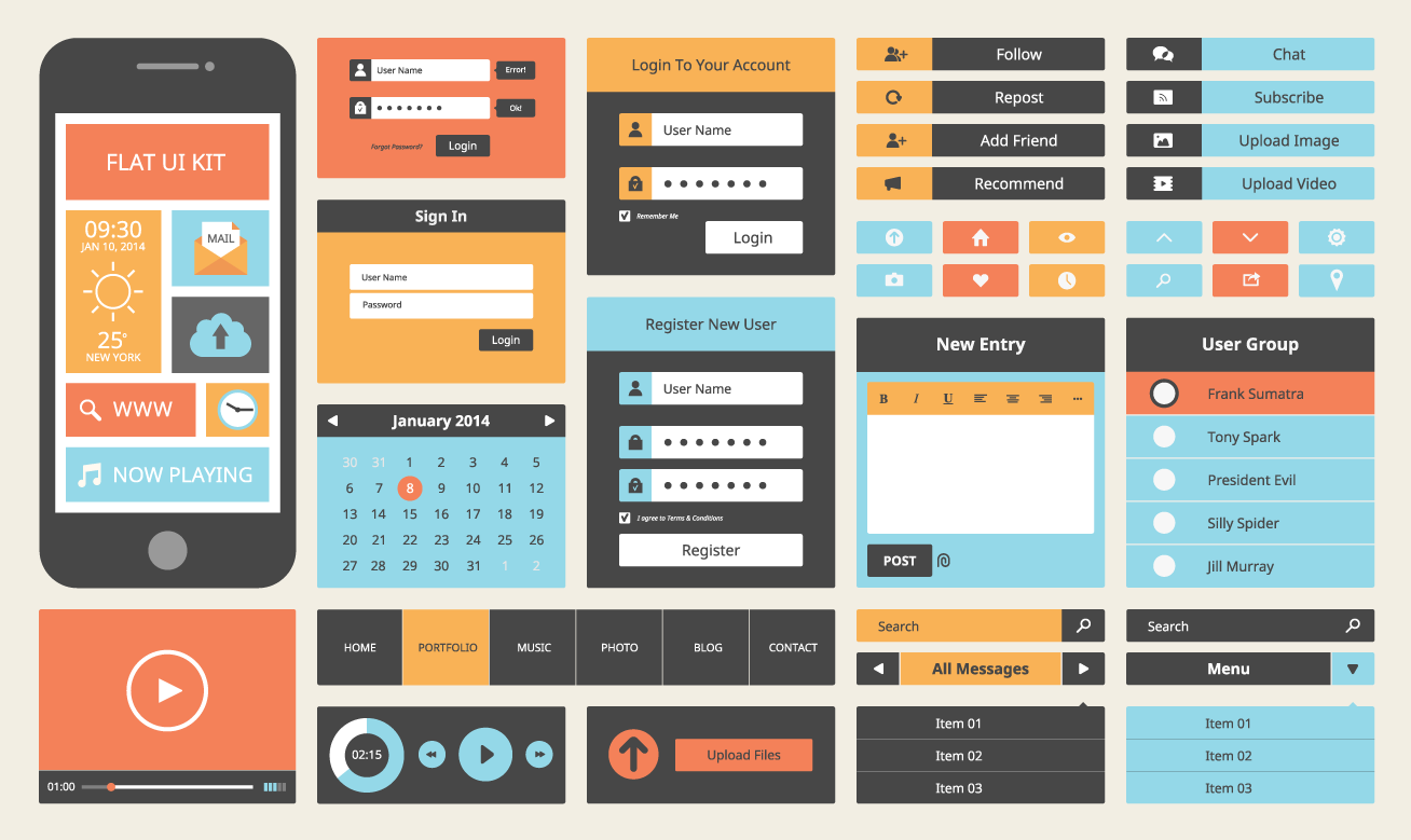 © Modern UI flat design vector kit de Bloomicon - Shutterstock