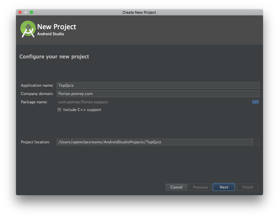 screenshot of Android studio configuration screen for naming
