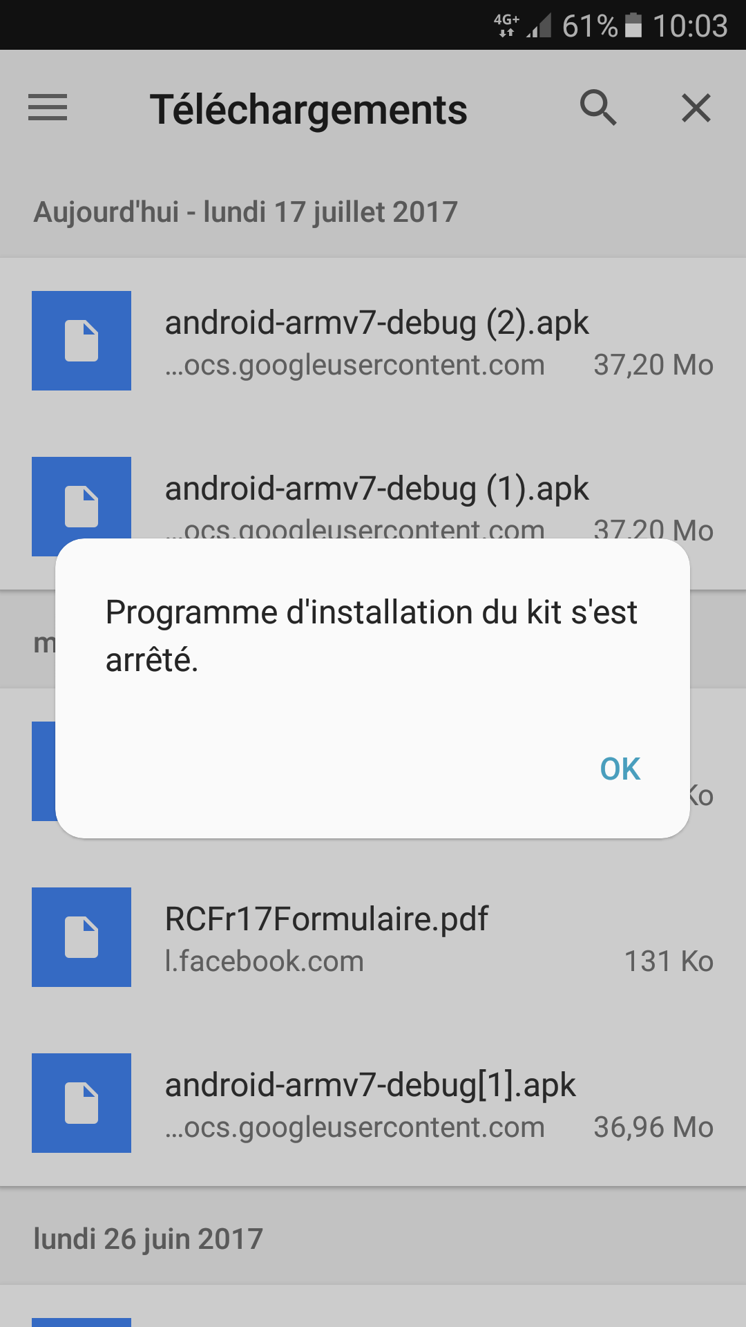 android erreur d'installation 24