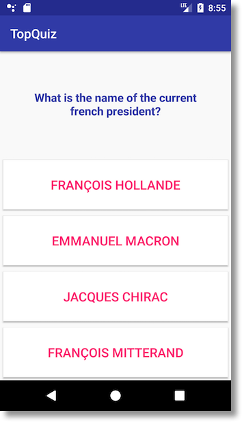 Oooh, trick question! France doesn't have a president, it's ruled by alien wizard kings, you silly app