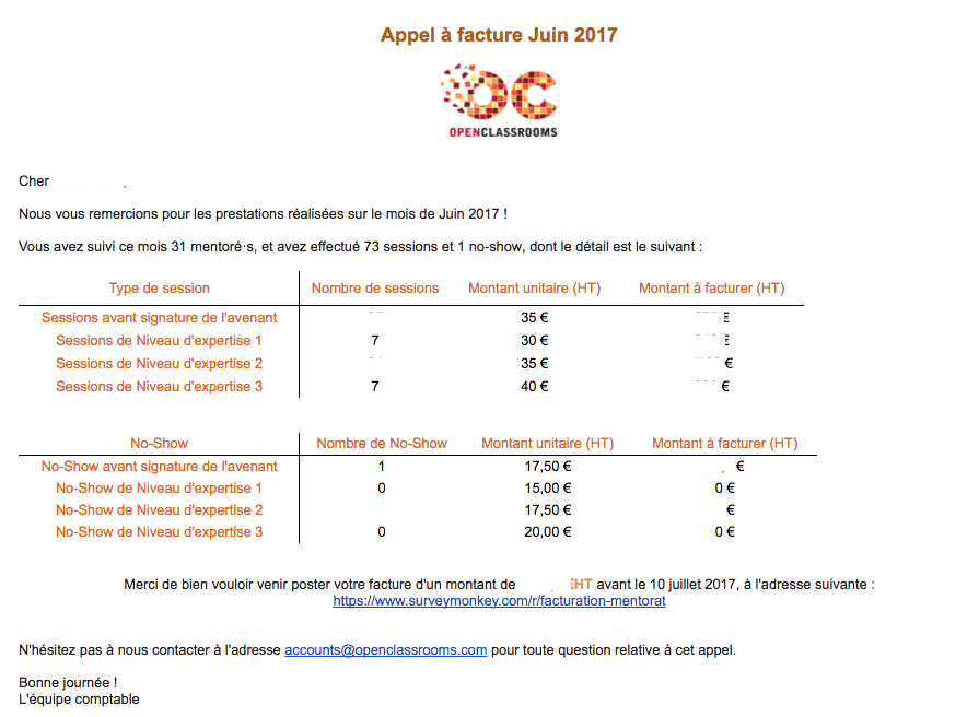 L'appel à facturation