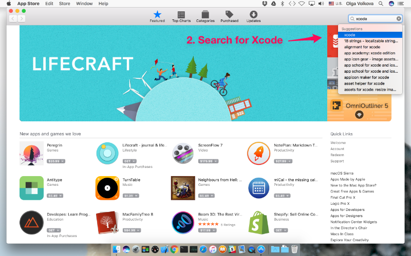 Search for the Xcode app in the App Store