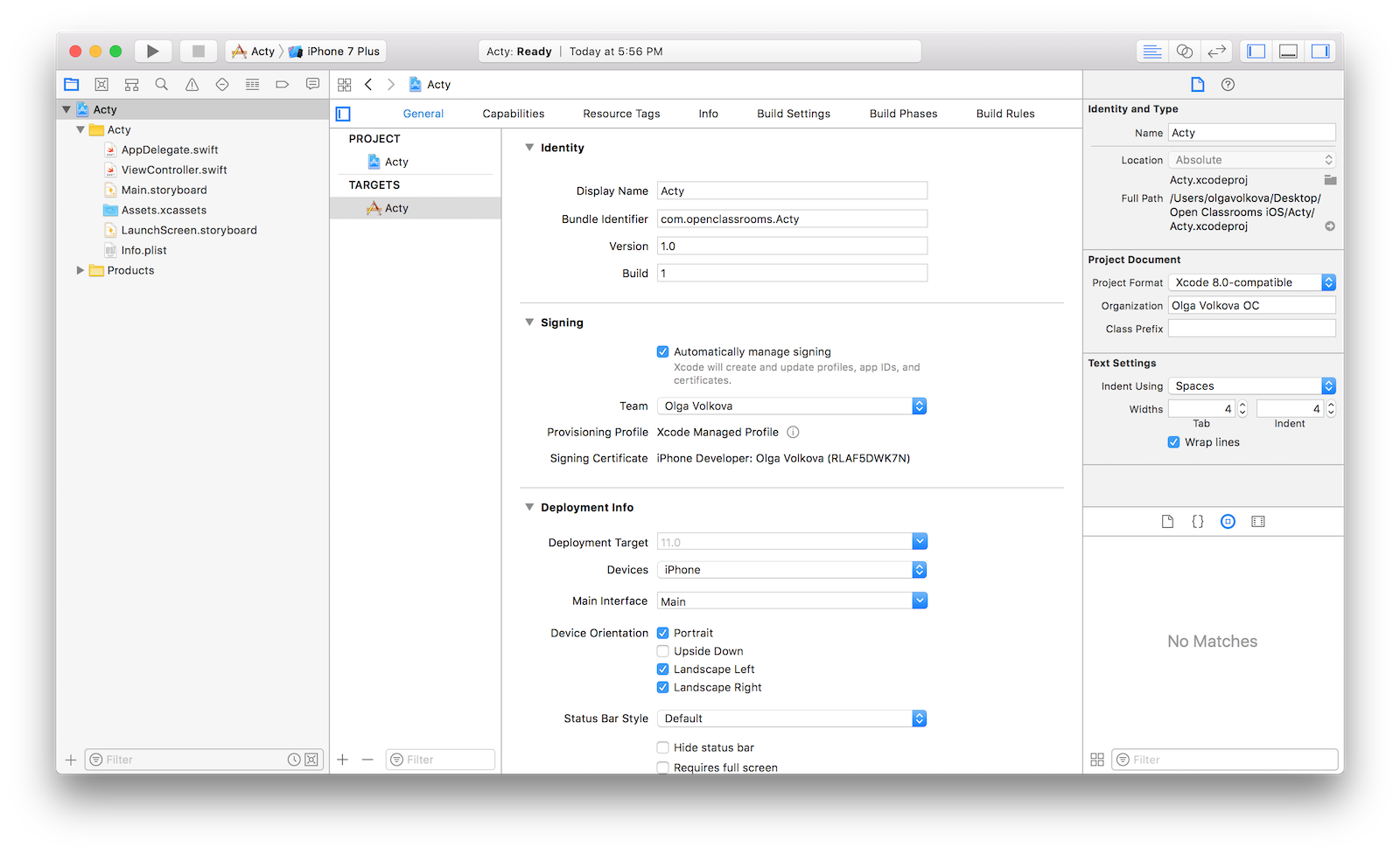 Xcode project view