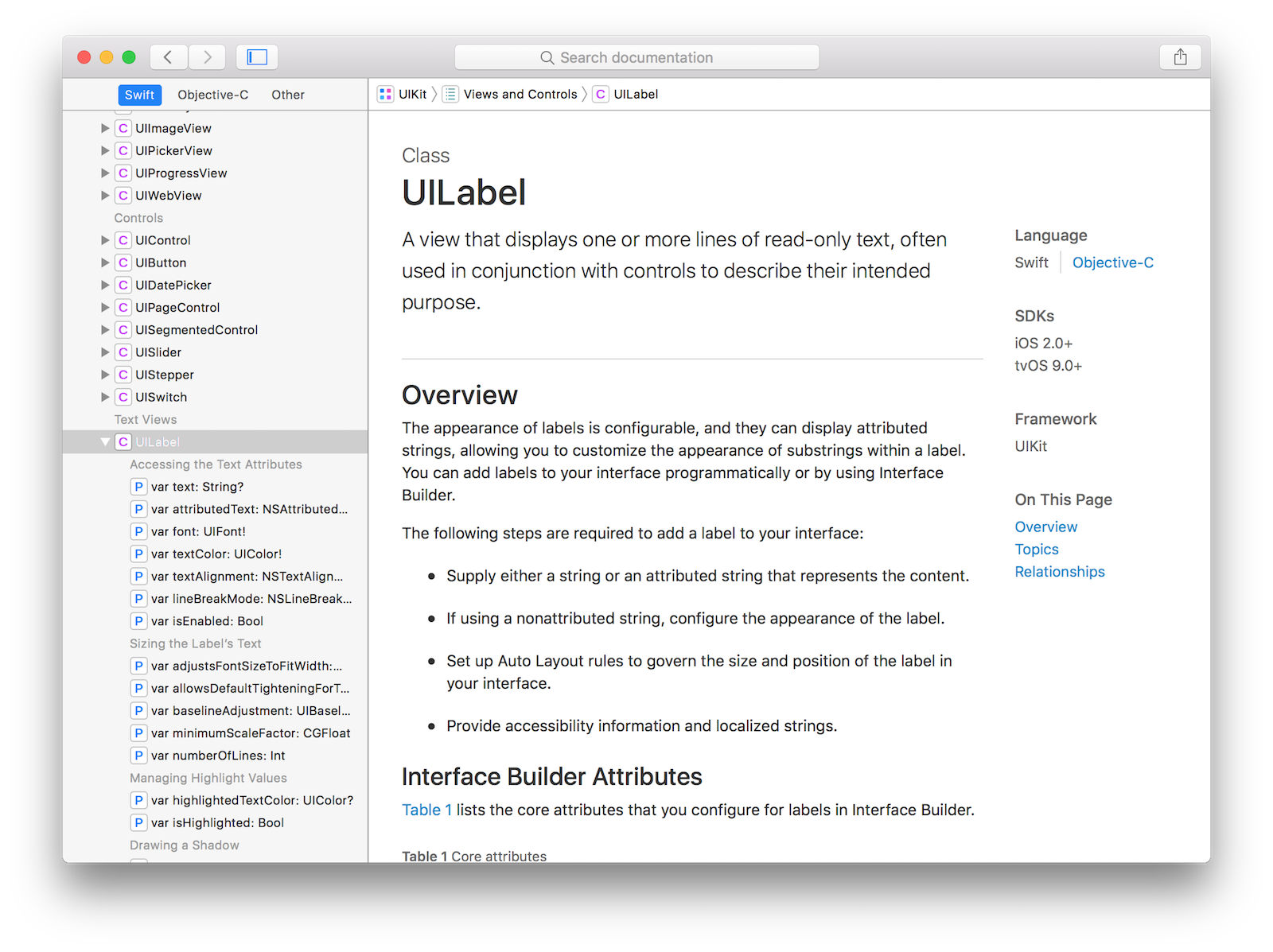 Xcode documentation for UILabel