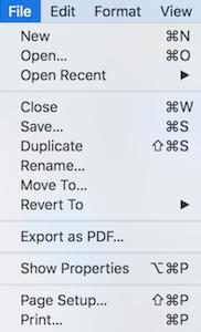 Classic File menu