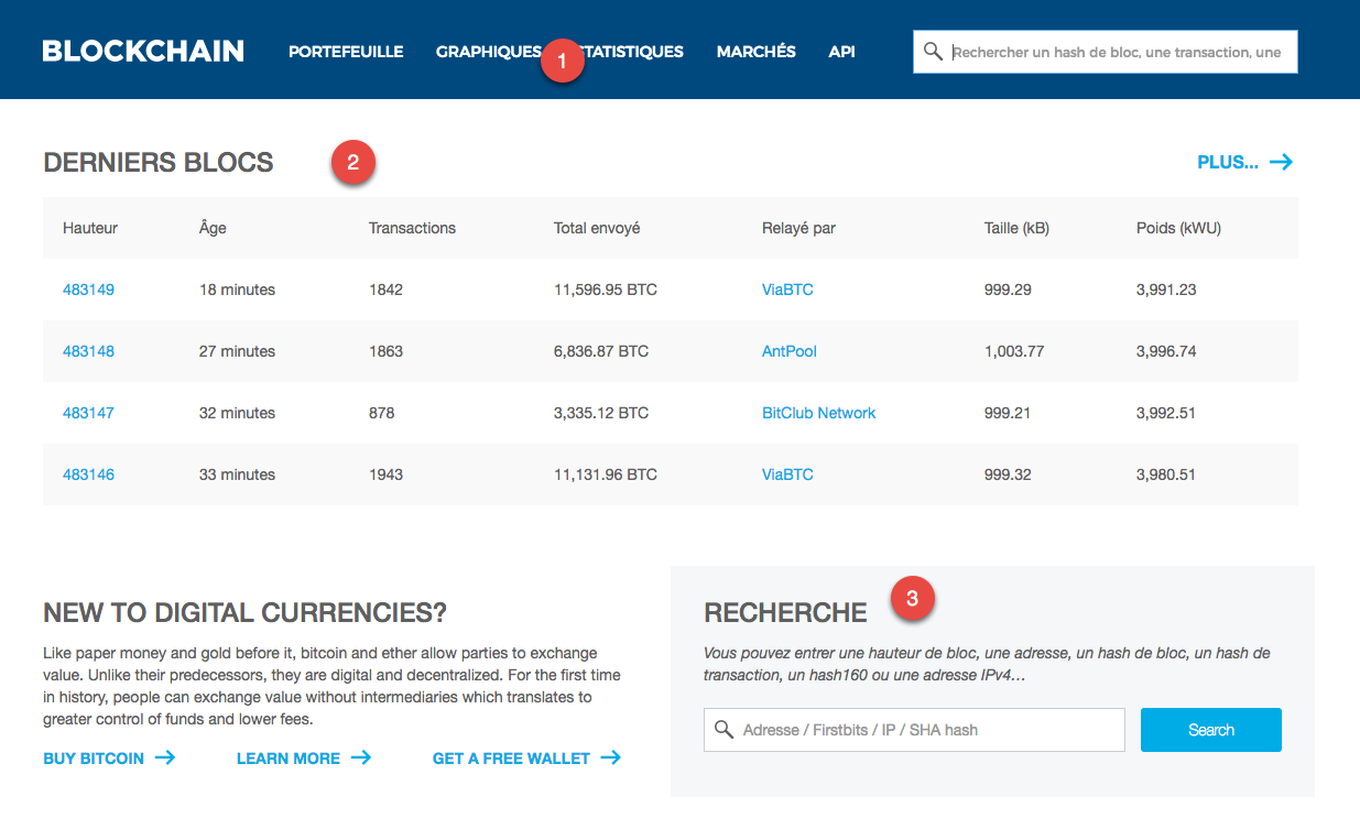 Accueil du site Blockchain.info