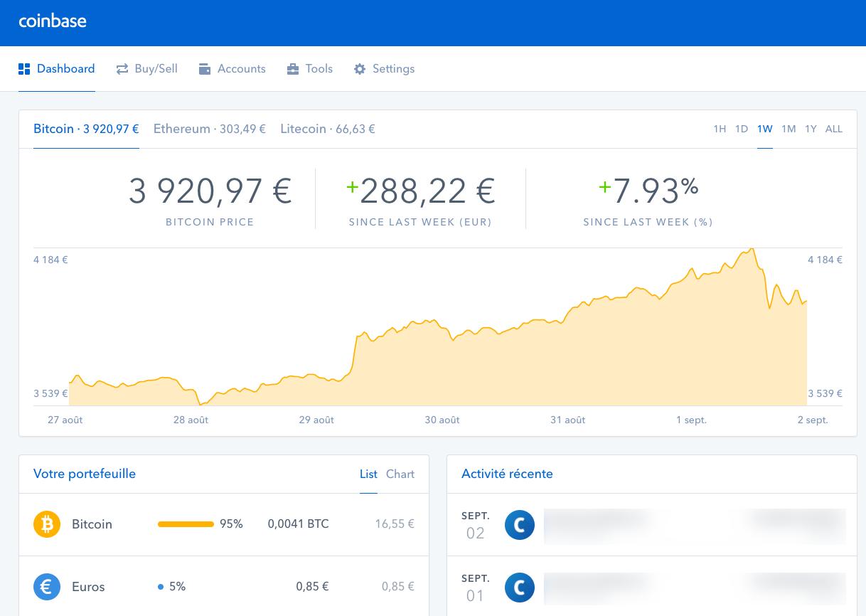 Le tableau de bord de Coinbase