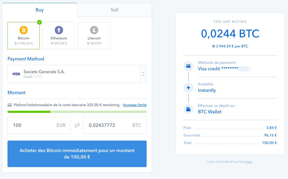 Achats de Bitcoins sur Coinbase