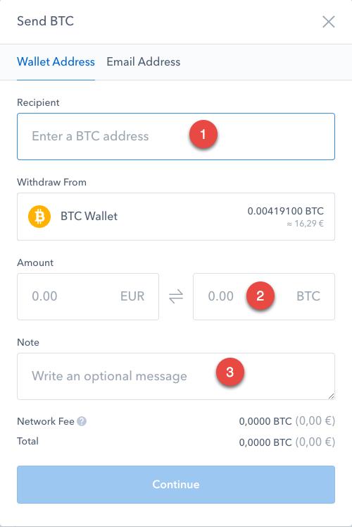 L'interface de Coinbase nous permet de déplacer nos Bitcoins