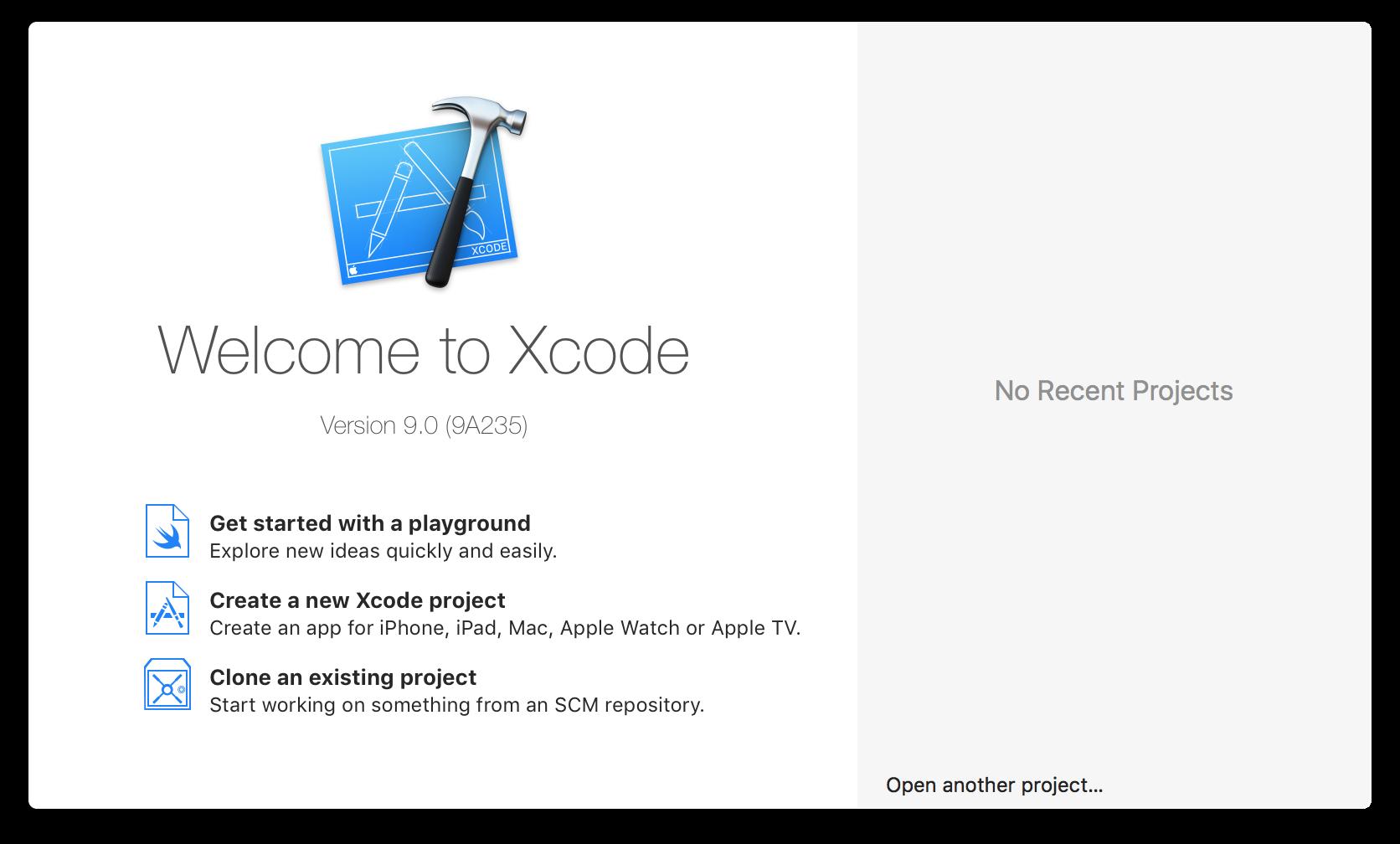 Xcode welcome window