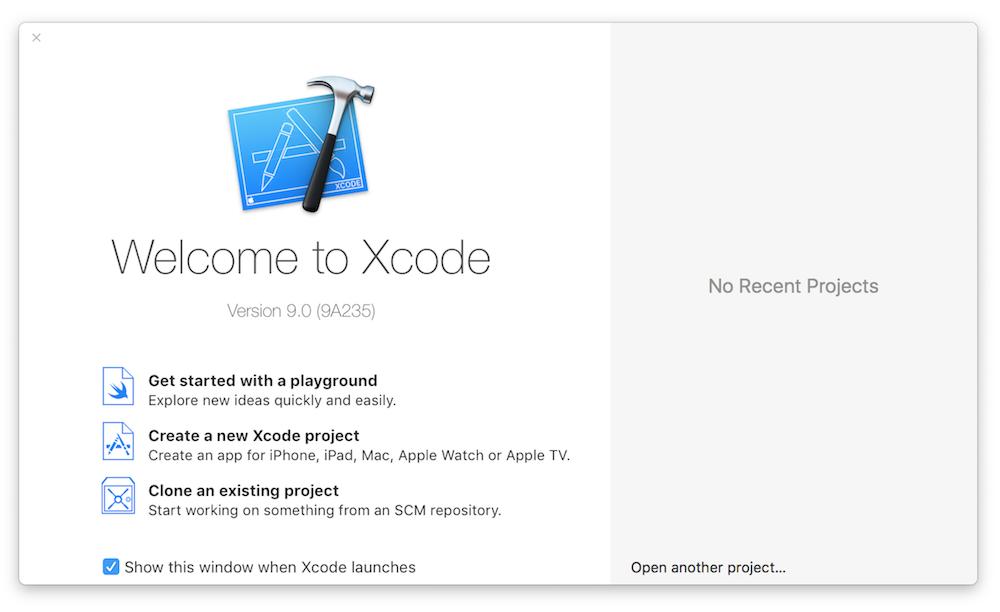 Ouverture de Xcode