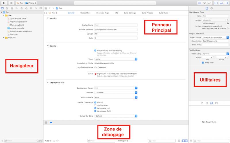 Les 4 panneaux de Xcode