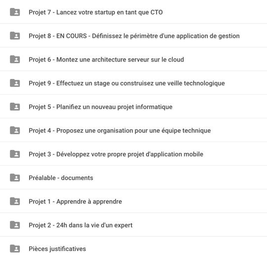 Le dossier de l'étudiant contient un sous-dossier par projet (ainsi que la demande de recevabilité)