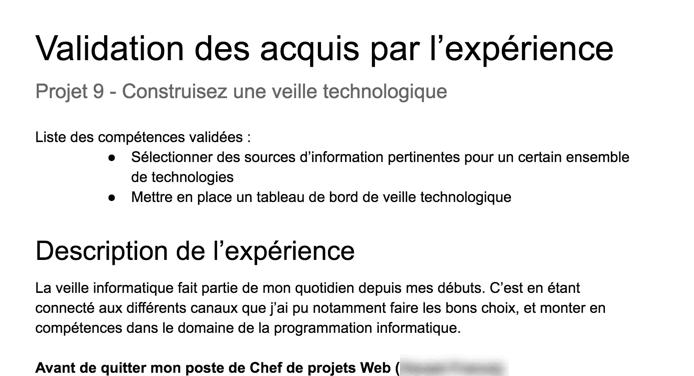 Aperçu du document de description d'expérience VAE d'un étudiant