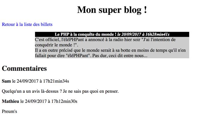 Le blog affiche les commentaires... avec une structure MVC sous le capot !