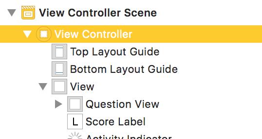 1. Dans le storyboard, sélectionnez le View Controller