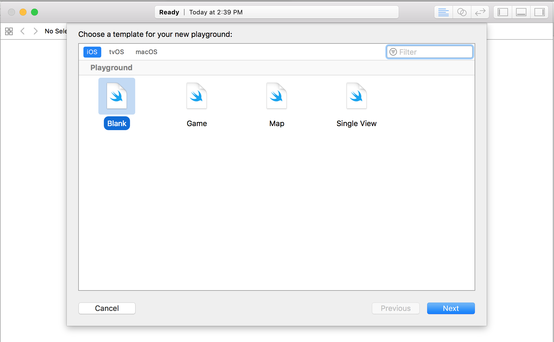 Xcode Playground template selection