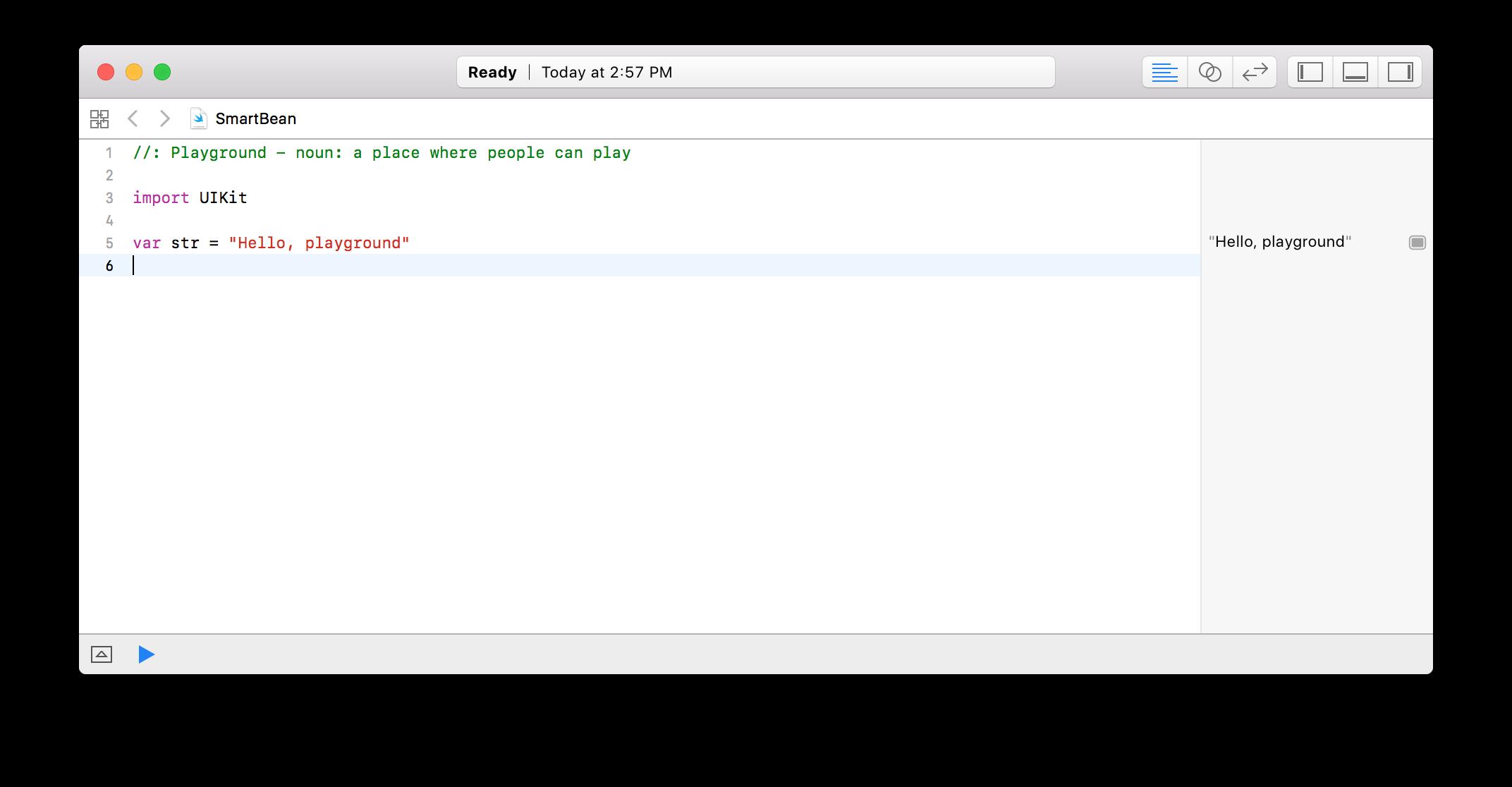 New Playground editor window