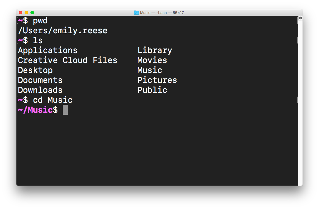 Changing directories to the Music folder