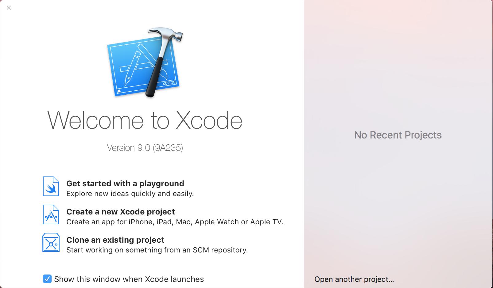 Lancement de Xcode