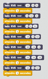 Séquence de blocs permettant d'allumer successivement toutes les LEDS (