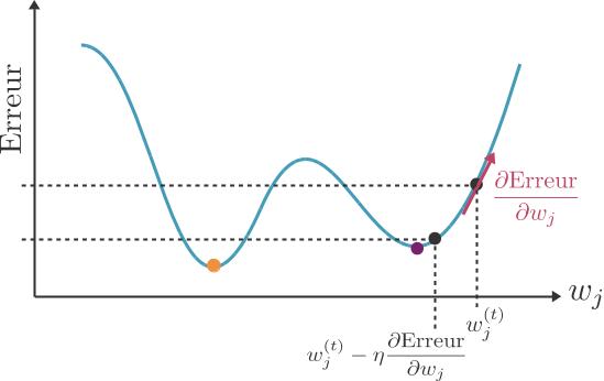 L'algorithme du gradient peut rester coincé dans le puits de droite, et ne détecter que le minimum local (violet) au lieu du minimum global (orange).