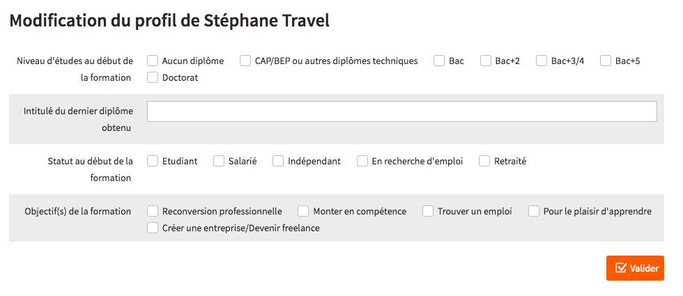 Complétez le profil de l'étudiant suite à la session découverte