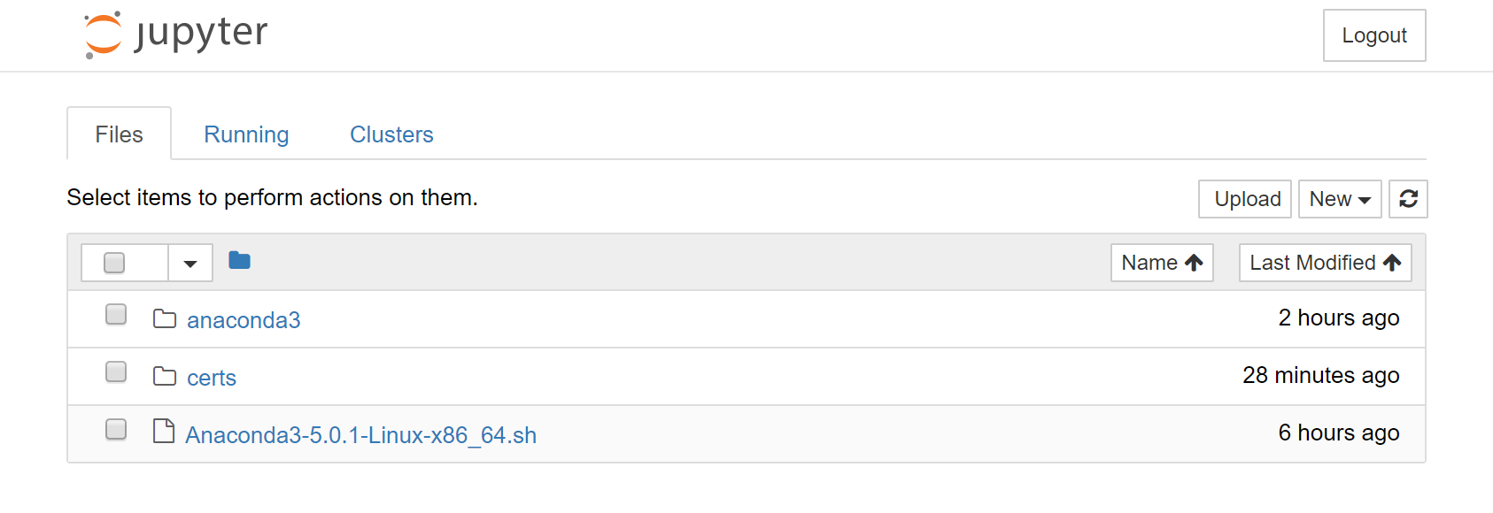 La page d'accueill de Jupyter