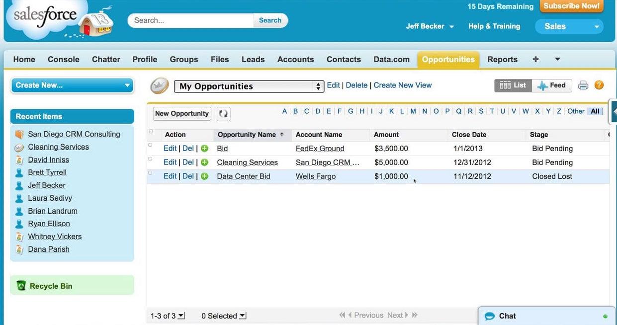 Vue du CRM Salesforce