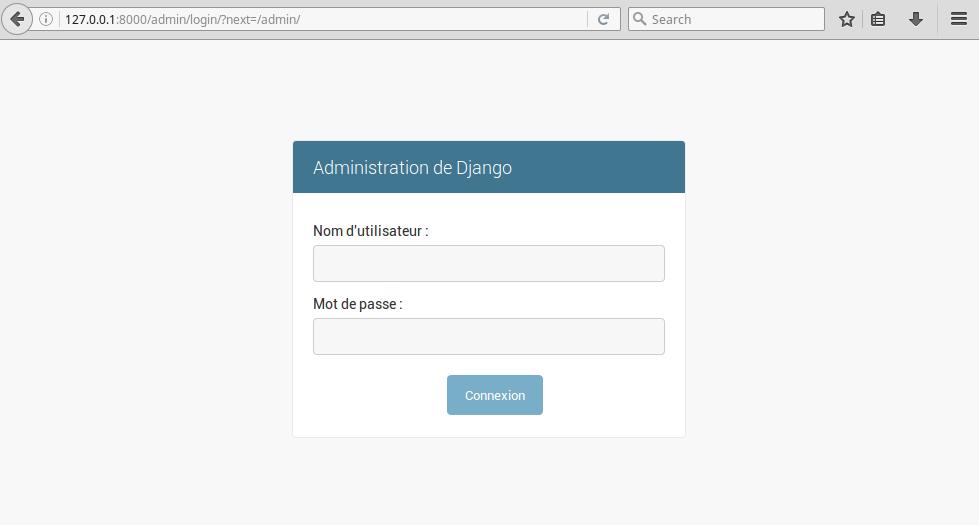 L'écran de connexion de l'administration