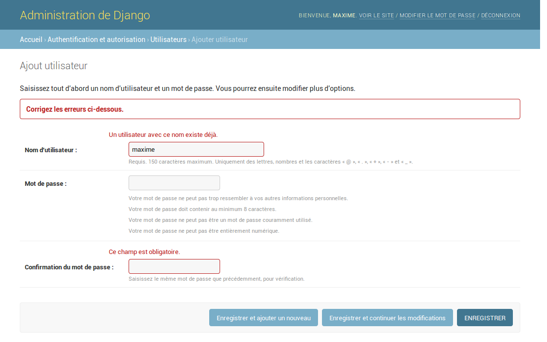 Formulaire de création de comptes, après le validateur avec erreur