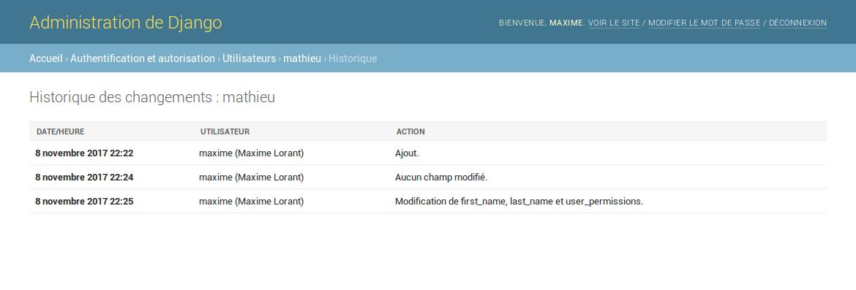Historique des modifications d'un objet utilisateur