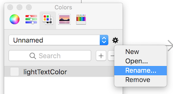 Renaming custom color palette