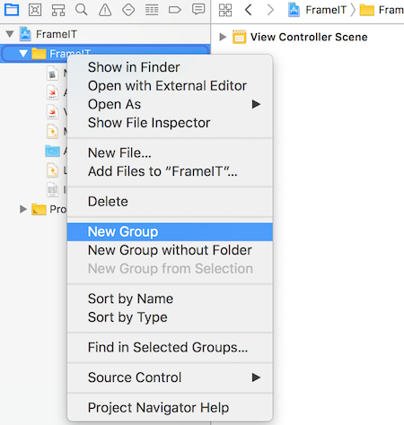 Create anew file group in Xcode