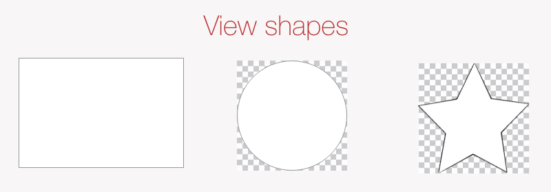 View shapes represented by rectangular area