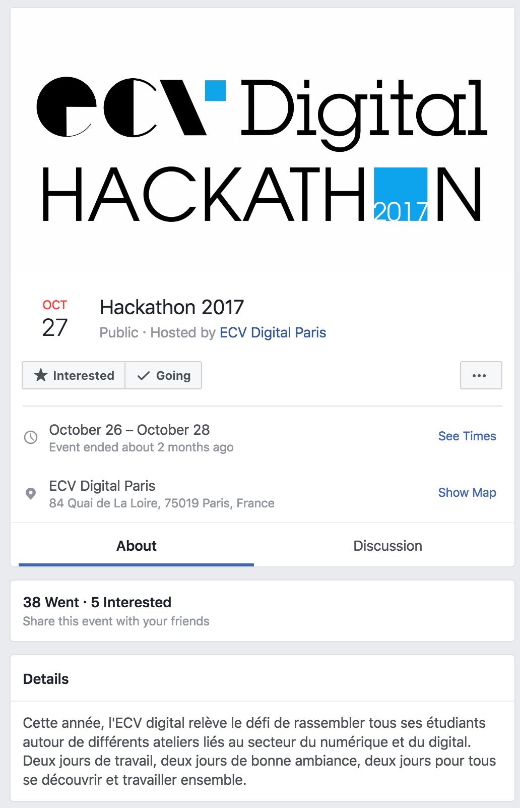 Exemple d'évènement Facebook pour le hackathon de l'ECV Digital