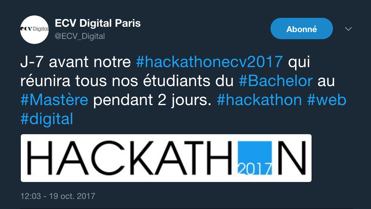 exemple de tweet pour annoncer le hackathon de l'ECV Digital qui aura lieu dans 7 jours